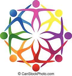 trabajo en equipo, gente, flor, forma, logotipo