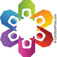 trabajo en equipo, gente, logotipo