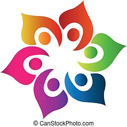 trabajo en equipo, gente, unido, vector, logotipo