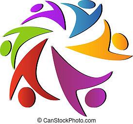 trabajo en equipo, global, logotipo