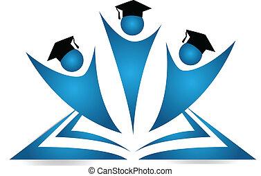 trabajo en equipo, graduados, estudiantes, logotipo