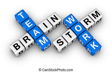 trabajo en equipo, idea genial