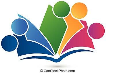trabajo en equipo, libro, logotipo