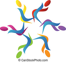 trabajo en equipo, logotipo