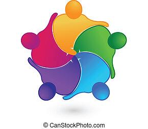 trabajo en equipo, manos, conexiones, logotipo