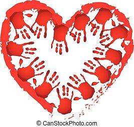 trabajo en equipo, manos, forma corazón, logotipo