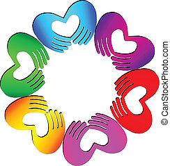 trabajo en equipo, manos, hacer, un, corazón, logotipo