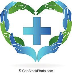 trabajo en equipo, manos, médico, logotipo, vector