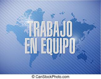 trabajo en equipo, mapa del mundo, señal, en, español