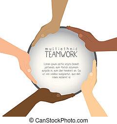 trabajo en equipo, multiétnico