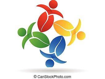 trabajo en equipo, naturaleza, leafs, logotipo, vector