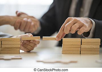 trabajo en equipo, o, puentes de edificio, concepto