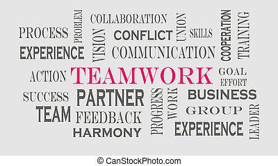 trabajo en equipo, palabra, nube, concepto, en, gris, fondo.
