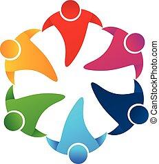 trabajo en equipo, personas que tienen manos, logotipo