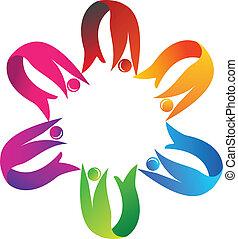 trabajo en equipo, porción, logotipo