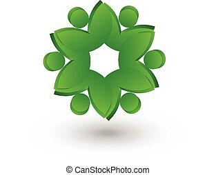 trabajo en equipo, salud, gente, leafs, logotipo