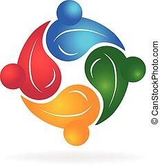 trabajo en equipo, sano, gente, logotipo