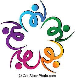trabajo en equipo, swooshes, flor, logotipo