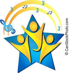 trabajo en equipo, talentos, canto, logotipo