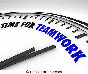 trabajo en equipo, tiempo, -, reloj