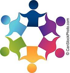 trabajo en equipo, trabajadores, gente, unidad, diseño, logotipo