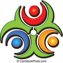 trabajo en equipo, tres, feliz, gente, logotipo