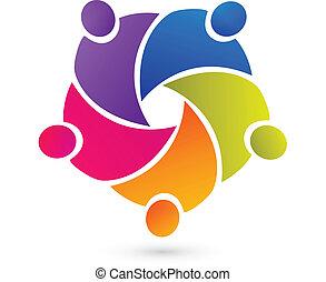trabajo en equipo, unión, gente, logotipo, vector