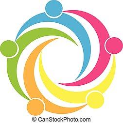 trabajo en equipo, unidad, gente, logotipo