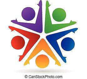 trabajo en equipo, y, sociedad, logotipo