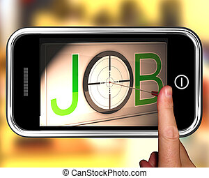 trabajo, en, smartphone, actuación, blanco, empleo