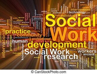 trabajo, encendido, concepto, plano de fondo, social