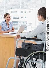 trabajo, entrevistar, incapacitado, mujer de negocios,...