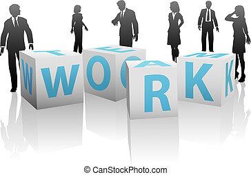 trabajo equipo, cubos, con, silueta, gente, en, llanura,...