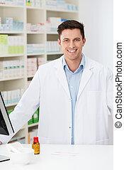 trabajo, farmacéutico, joven, farmacia