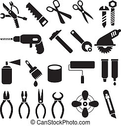 trabajo, herramientas, -, conjunto, de, vector, iconos