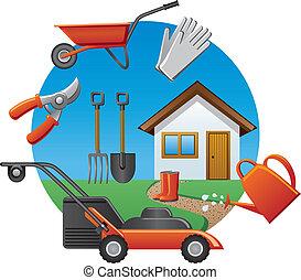 trabajo, herramientas, jardín