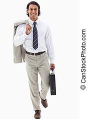 trabajo, hombre de negocios, yendo, retrato