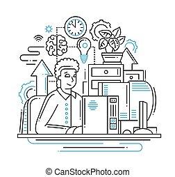 trabajo, -, ilustración, diseño, en línea, línea