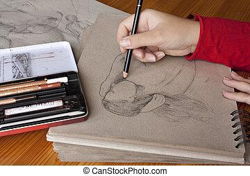 trabajo, ilustrador