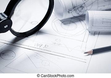 trabajo, ingeniería, detalles, pequeño, lupa, dibujo