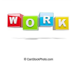 trabajo, inscripción, cubos, rojo