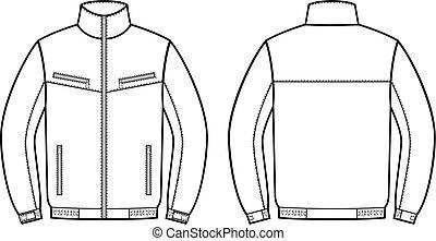 trabajo, jacket., frente, y, espalda