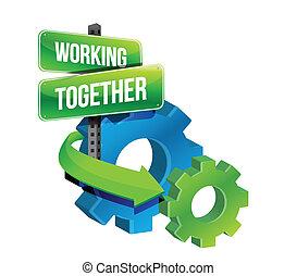trabajo junto, engranajes, concepto