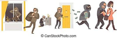 trabajo, ladrón, conjunto, ladrón, carterista