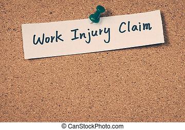 trabajo, lesión, reclamo