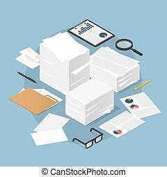 trabajo, papel, isométrico, ilustración, concepto