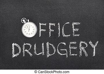 trabajo penoso, reloj, oficina