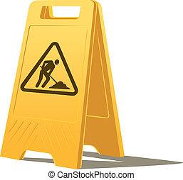 trabajo, precaución, hombres, señal