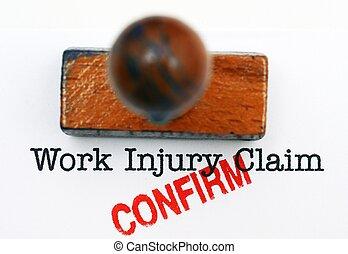 trabajo, reclamo, lesión, -, aprobado