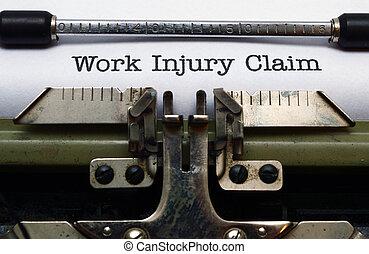 trabajo, reclamo, lesión
